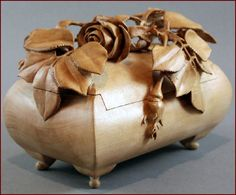 "Wood, Nairi Safaryan, Artist, Untitled, rose jewelry box, 2011, wild pear, 5""h x 7""w x 4.375""d"