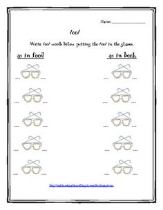 teaching the /oo/ sound - write the oo's in the glasses.