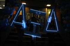 Light up letters by Alpha Xi Delta for bid night. (perhaps some ADPi ladies will be inspired by this? Sigma Lambda Gamma, Alpha Omicron Pi, Alpha Sigma Alpha, Delta Gamma, Delta Sorority, Sorority Sugar, Sorority Life, Sorority Crafts, Sorority Letters