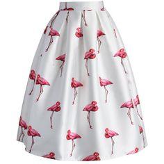 Chicwish ($42) ❤ liked on Polyvore featuring skirts, bottoms, saias, юбки, white, ruffle skirt, puffy skirts, box pleat skirt, puffy midi skirt and print midi skirt