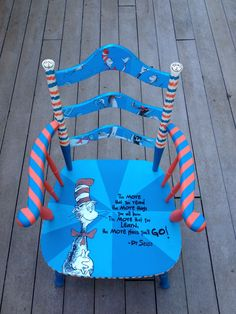 Dr. Seuss chair that will be donated to my kids kindergarden class. Check out paintedchairsetc.com. Custom work accepted!