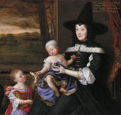 John Michael Wright, 'Portrait of Mrs Salesbury with her Grandchildren Edward and Elizabeth Bagot' 1675–6