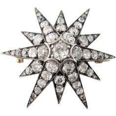 Antique Victorian 14K Silver 3.50ct Old Mine-cut Diamond Star Brooch, c. 1880s