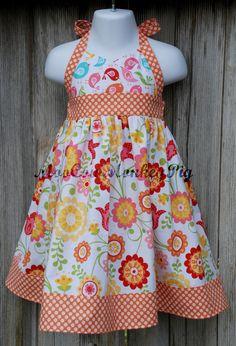 Little girls Crossed Bodice Sundress size 6 by MooCowMonkeyPig, $39.98