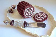 Chocolate Cream cake slices Toy Play Food Knitting Amigurumi Food Play Kitchen Play Set. $14.00, via Etsy.