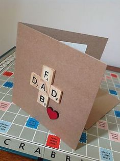 Dad Birthday / Fathers Day Card Handmade With Scrabble Tiles and Wooden Heart Diy Father's Day Cards, Boy Cards, Scrabble Cards, Scrabble Tiles, Scrabble Letters, Daddy Day, Handmade Birthday Cards, Fathers Day Cards Handmade, Father's Day Diy