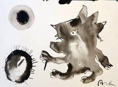 """Topo votandoAlto: 30 cm. aprox. Ancho: 40 cm. aprox. Historia del cuadro: Un """"topo-hombre"""" un animal con poca vista… Un visión diferente de las elecciones. Técnica: Tinta china sobre papel"""