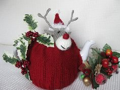 Rudolph's Christmas Tea Cosy & Egg Cosy by Lindsay Mudd knitting pattern £2.00 on Ravelry at http://www.ravelry.com/patterns/library/rudolphs-christmas-tea-cosy--egg-cosy