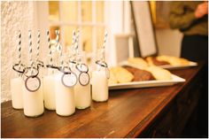 MIlk & Cookies at the wedding reception. Yummo!  Jen + Steven // Married at Duportail House