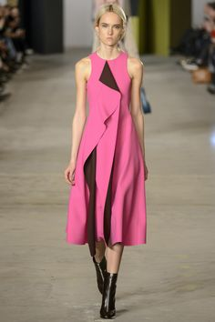 Cute Avant Gard Pink Sleeveless Dress with a Black Pleated Accent by Boss Fall 2016 Ready-to-Wear Fashion Show