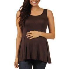 24/7 Comfort Apparel Women's Maternity Sleeveless Tunic Tank, Size: XL, Brown