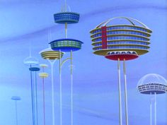 The Jetsons live in a de-lux apartment in the sky.