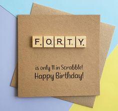 40th birthday card Fortieth Scrabble card Funny birthday | Etsy 100th Birthday Card, Funny Birthday Cards, Special Birthday, Scrabble Cards, Scrabble Tiles, Happy Birthday Cards Handmade, Greeting Cards Handmade, Funny Cards, Cute Cards