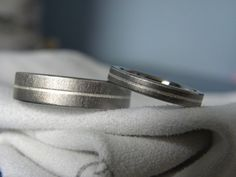 Titanium Silver Ring SET Matching Bands Frosted. $100.00, via Etsy.