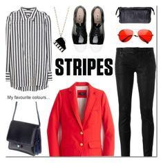 Striped Shirts by mada-malureanu on Polyvore featuring Alice + Olivia, J.Crew, Drome, Miu Miu, DUDU, Kate Spade, red, stripes, Dudu and dudubags