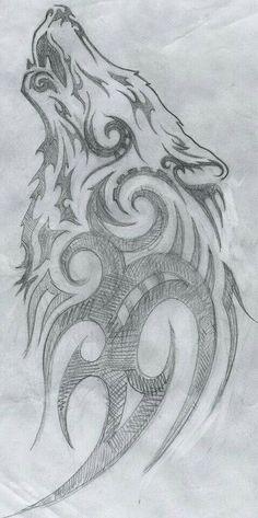 70 Ideas Tattoo Designs Drawings Inspiration Wolves For 2019 Wolf Tattoo Design, Tattoo Design Drawings, Cool Drawings, Pencil Drawings, Tattoo Designs, Tattoo Ideas, Tattoo Sketches, Tribal Wolf Tattoos, Tattoo Wolf