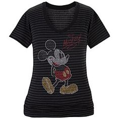 Disney Mickey Mouse Tee for Women | Disney StoreMickey Mouse Tee for Women - This fashionable, striped v-neck tee featuring classic Mickey will dazzling you with its metallic glitter-ink art. You'll shine when you hit the town for fun in this jersey-knit top.