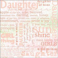 """Dinglefoot's Scrapbooking - Daughter Words 12"""" x 12"""" Scrapbook Paper, $0.75 (http://www.dinglefoot.com/daughter-words-12-x-12-scrapbook-paper/)"""