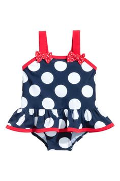 Swimsuit with a flounce - Dark blue/Spotted - Kids   H&M CA 1