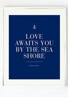 Love Awaits You Print - Nautical Anchor Print by Pretty Chic SF