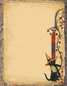 Witch Black Cat page by Grim, scrapbook, art journal, Book of Shadows Wiccan Witch, Wicca Witchcraft, Witch Spell, Illustration, Writing Paper, Halloween Cat, Book Of Shadows, Art Pages, Scrapbook Paper