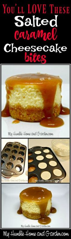 You'll Love These Easy Salted Caramel Cheesecake Bites on MyHumbleHomeandGarden.com