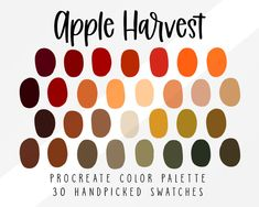 DULL, TIRED, DON'T USE Apple Harvest Fall Procreate Color Palette Fall Themed Color   Etsy Palette Art, Fall Color Palette, Colour Pallette, Vintage Colour Palette, Vintage Colors, Apple Harvest, Fall Harvest, Ipad Art, Theme Color