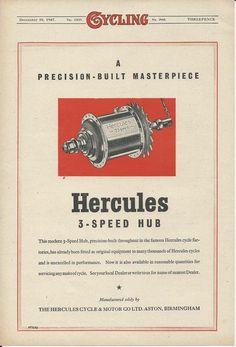 The Hercules 3 Speed Hub Pricision Built 1947 Advertisement | eBay