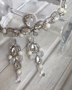 Купить ободок и серьги из кристаллов и жемчуга Swarovski. Handmade jewelry with Swarovski.