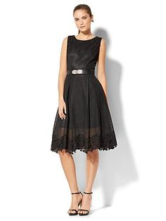 75d9b47f6a2f Shop Lace-Trim Mesh Midi Dress. Find your perfect size online at the best