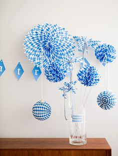 blue and white party decorations