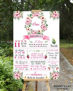 Display your little boy or girls most precious and important milestones of the year with this Strawberry/Floral themed milestone poster, perfect for any age! Milestone Board, 1st Birthday Board, First Birthday poster, Printable 1st Birthday Party Decorations, Girls Pink Floral