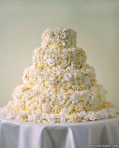 Any cake frosted in buttercream can be decorated with crisp meringue flowers in shades of white.