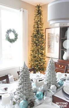 See how you can decorate any narrow spot in your home with a PENCIL CHRISTMAS TREE - a slim tree style, designed for narrow spaces like foyers, hallways and corners! www.settingforfour.com.