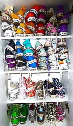 Converse in many colors... wish this was my closet!  The most versatile footwear around - goes with everything!