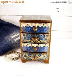 SPRING SALE Mini Chest of Drawers Blue by Alenahandmade on Etsy