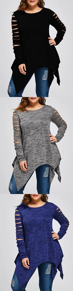 $10.23, Wholesale Plus Size Marled Ripped Sleeve Handkerchief Top 3xl-Black, Gray and Blue. | Rosewholesale, Rosewholesale plus size, tops, plus size | #Rosewholesale #tops #plussize