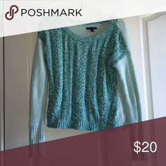 Fall sweater Teal, thick sweater with holes and scoop neckline American Eagle Outfitters Sweaters Crew & Scoop Necks