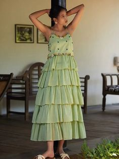 Pista green cotton mul tiered dress with hand embroidery on yoke, side zip and spaghetti strap. Indian Gowns Dresses, Indian Fashion Dresses, Dress Indian Style, Indian Designer Outfits, Designer Dresses, Stylish Dress Designs, Designs For Dresses, Frock Fashion, Kurta Designs Women
