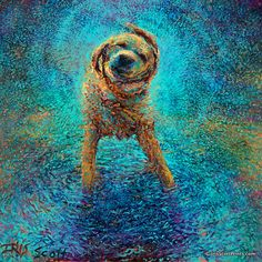 Shakin' Off The Blues by Iris Scott, finger painter. Artist-embellished Limited Edition Canvas series - Available at Adelman Fine Art.