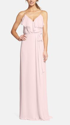 Classic and simple chiffon for the bridesmaids dresses.