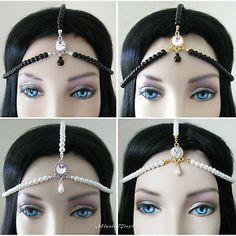 Gatsby Glass Pearl Flapper Swarovski Headpiece Hair Chain - Choice of Colours by Missie77art Jewellery on ebay