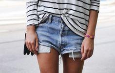 denim shorts + stripes
