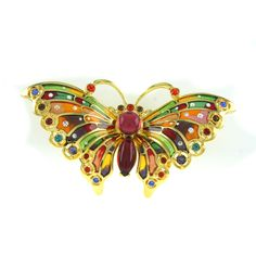 Gorgeous Joan Rivers Goldtone Stained Glass Butterfly Brooch Pin #JoanRivers