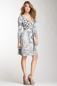 3/4 Length Sleeve Printed Wrap Silk Dress on HauteLook