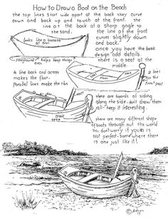 How to Draw Worksheets for Young Artist: How To Draw Boat On Beach Worksheet. - How to Draw Worksheets for Young Artist: How To Draw Boat On Beach Worksheet. See additional notes - Easy Art Lessons, Drawing Lessons, Drawing Techniques, Drawing Tips, Drawing Sketches, Pencil Drawings, Painting & Drawing, Art Drawings, Boat Drawing