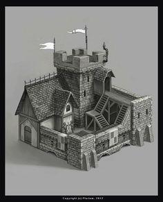 World Building concept. structure. keep. castle. prison. guardhouse. by mikrob.deviantart.com on @deviantART: