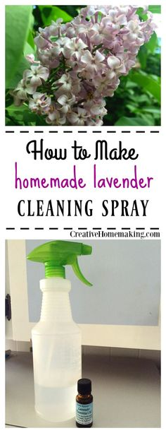 All natural lavender household cleaning spray scented with lavender essential oil.