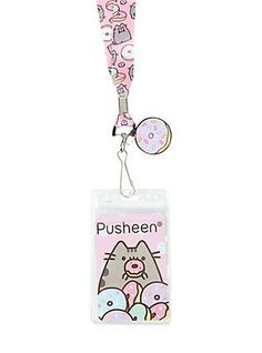 Satisfy your donut craving with Pusheen! This lanyard strap features a Pusheen and donuts print, donut rubber charm and clear ID display. Pusheen Love, Pusheen Cat, Pusheen Stuff, Things To Buy, Girly Things, Pusheen Birthday, Kawaii Room, Cute School Supplies, Stocking Stuffers