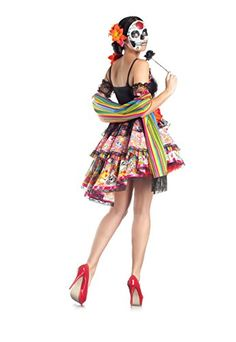 Party King Day Of The Dead Women's Costume Set with Mask Includes dress, scarf, and mask Petticoat not included Lace up center